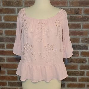 Candies Cottagecore Pink Peasant Top